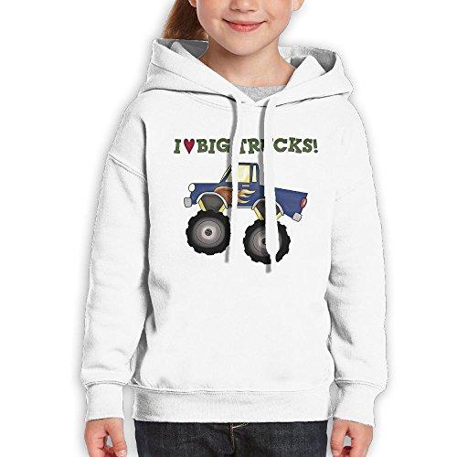 Price comparison product image Anraglan Love Big Trucks Girls Long Sleeve Pullover Hooded Sweatshirt White Size L
