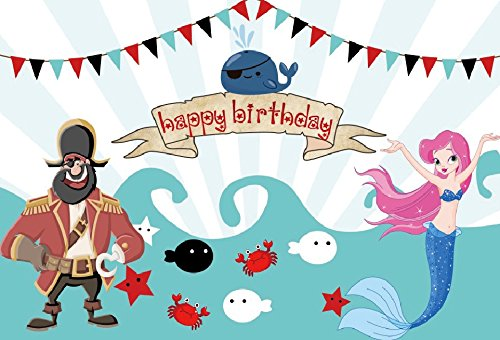 Yeele 5x3ft Vinyl Photography Background Pirate Whale Comic Animation Mermaid Bunting Wave Sea Tide Crab Starfish Stripe Photo Backdrops Pictures Studio Props