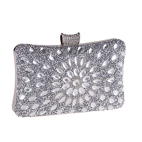 Evening Handbag Clutch Women's Silver Crossbody Purse Gold JESSIEKERVIN Diamond Bag xwZFTnxaW