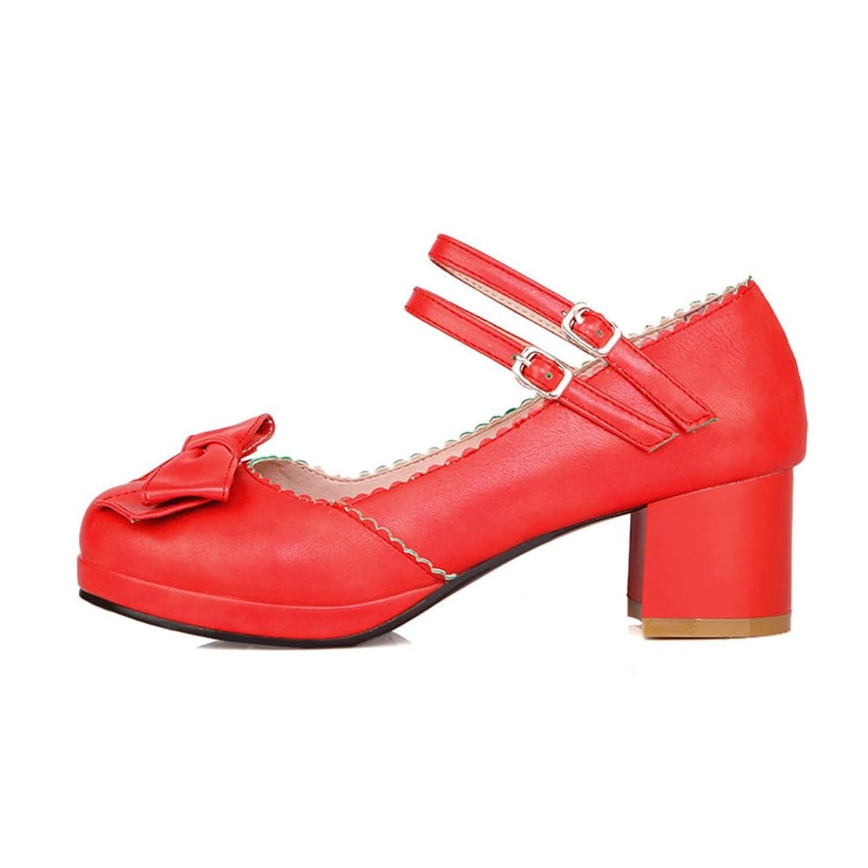 Y2Y Studio Damen Pumps Mary Ankle Janes Blockabsatz mit Schleife Ankle Mary Strap Geschlossen High Heels Schnürung Süß Office Sommer Rot 5edb2b