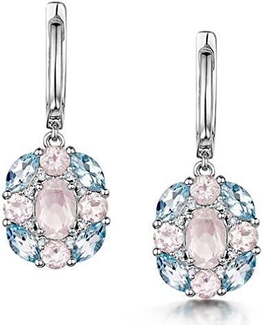 Pendientes de oro blanco de 9 quilates con topacio azul de cuarzo rosa y diamante