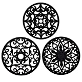 IPHOX 3 Set Silicone Multi-Use Intricately Carved Trivet Mat - Insulated Flexible Durable Non Slip Coasters Hot Pads Round Placemats(Black-3)