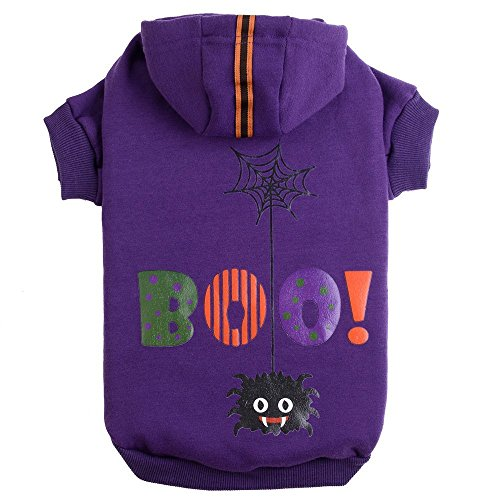 Halloween Clothes For Dogs (PUPTECK Dog Hoodie Sweater - Boo Shirt Pet Sweatshirt Puppy Clothes Printed Style Purple)