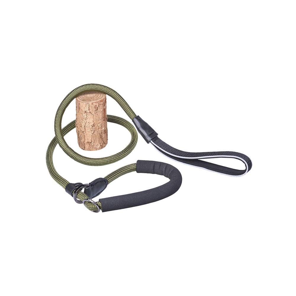 Army green Alapet P Chain Nylon Round Rope Traction Rope, Collar Traction Integrated Dog Leash, Small and Medium Dogs Within 25 kg Leash,EVA Material Predection Collar, Limit Buckle Adjustment Design