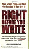 Right Before You Write, Jonathan O'Brien, 0981621600