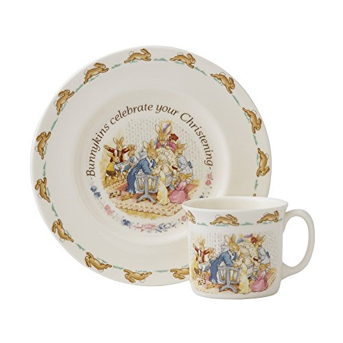 Royal Doulton Bunnykins Classic Nurseryware 2 Piece Christening Set (Plate, 1 Handled (Royal Doulton Outlet)