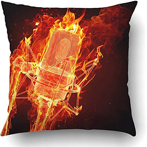 Throw Pillow Covers Orange Karaoke Fire Microphone Red Music Radio Station Night Mic Concert Live Polyester 18 X 18 Inch Square Hidden Zipper Decorative Pillowcase