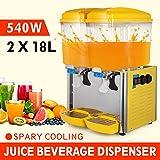 9.5 Gallon Cold Juice Beverage Dispenser Fruit Orange Vertical Supply 2x18L