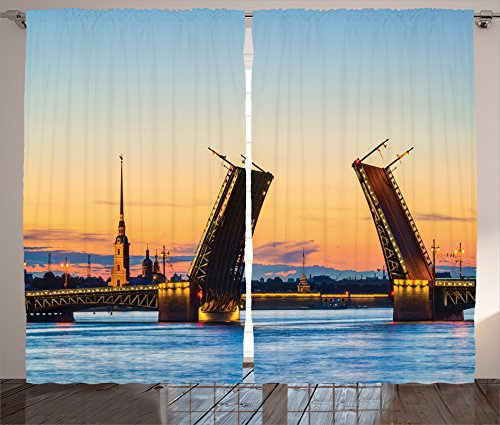 Ambesonne Apartment Decor Curtains, View of Palace Bridge with Peter and Paul Fortress St Petersburg White Nights Russia, Living Room Bedroom Decor, 2 Panel Set, 108 W X 84 L (Party City St Petersburg)