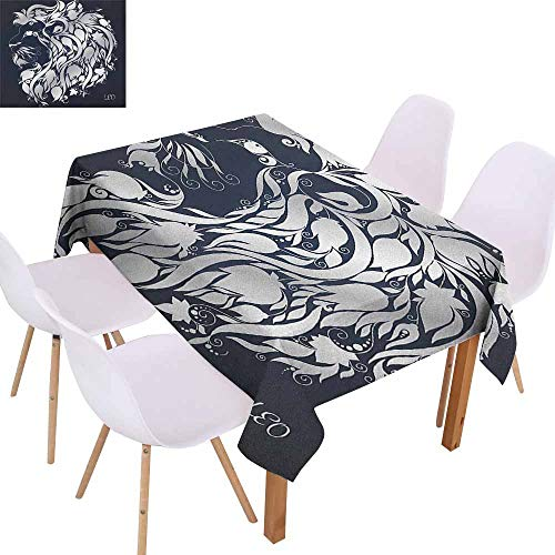 - Marilec Stain-Resistant Tablecloth Zodiac Head Shape of Astrological Leo Portrait with Swirling Flower Branches Image Print Excellent Durability W52 xL72 Blue Silver