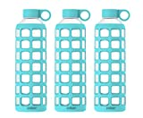 purifyou Premium Glass Water Bottle with Silicone Sleeve & Stainless Steel Lid Insert, 12/22 / 32 oz (3 Pack Aqua Blue, 32 oz)