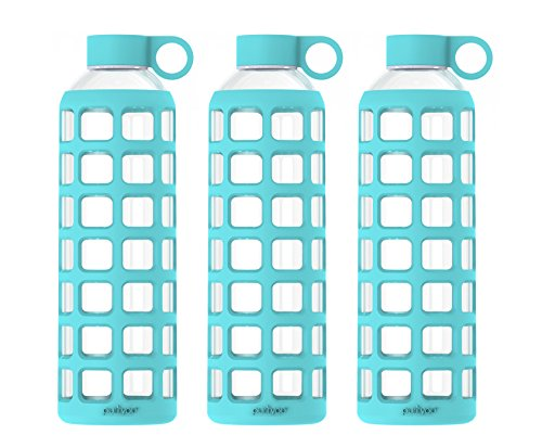 - purifyou Premium Glass Water Bottle with Silicone Sleeve & Stainless Steel Lid Insert, 12/22 / 32 oz (3 Pack Aqua Blue, 32 oz)