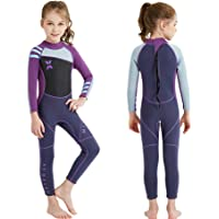 DIVE & SAIL Kids Wetsuit,Thermal Full Wetsuit 2.5mm Neoprene One Piece Long Sleeve Wet Suits Full Swimsuit for Girls…