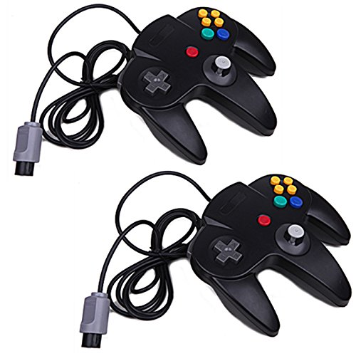 HDE Replacement Nintendo 64 Classic Controller Wired Long Handle Joystick Gamepad for N64 Game Consoles - 2 Pack (Black) Nintendo 64 from HDE