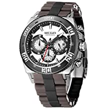 Megir Men Military Fashion Luxury Chronograph Silicone Stainless Steel Quartz Watch Analog Display