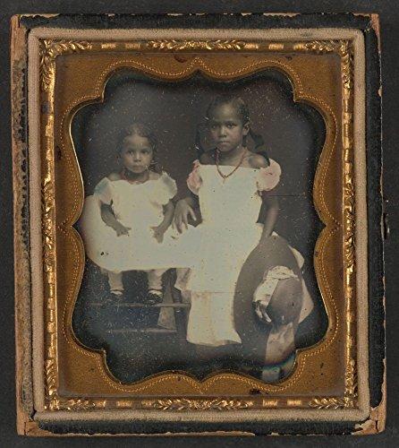 1859 Photo Isadora Noe Freeman and Mary Christiana Freeman Daguerreotype shows: two African American girls, Issadora Noe Freeman seated on the left, Mary Christiana Freeman, standing on right holding