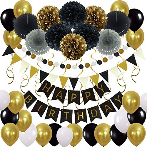 Birthday Party Decoration Supplies with Happy Birthday Banner Triangular Pennants Dot Paper Garland Balloons Paper Pompoms Fans Hanging Swirl, 43pc/Set Decor Kit (Gold and Black)