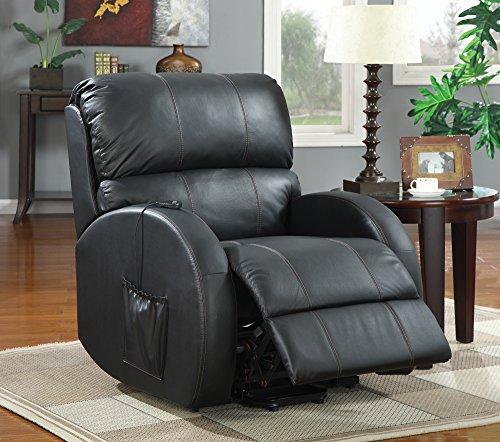 (Coaster Home Upholstered Power Lift Recliner Black)
