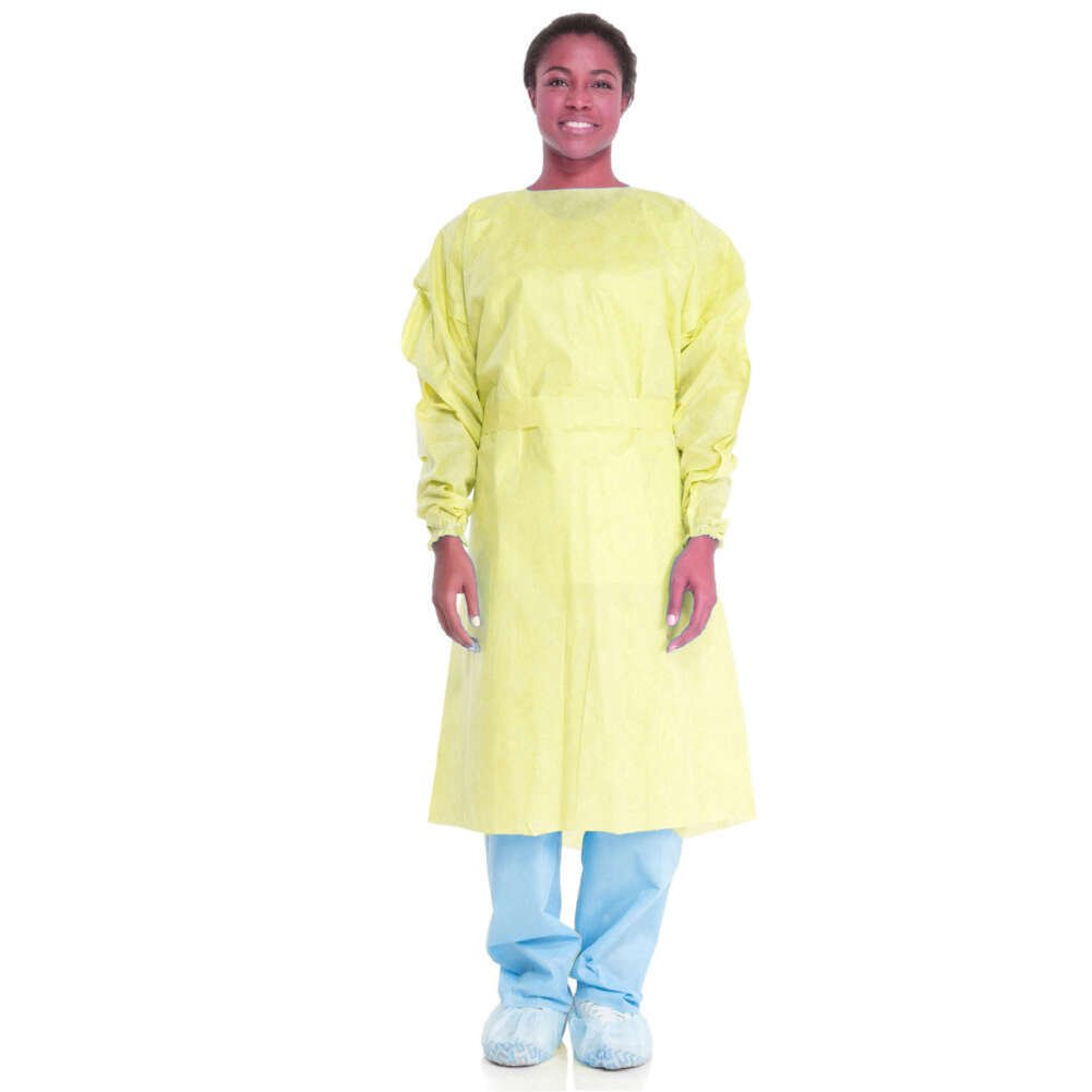 Halyard 69979 Tri-Layer AAMI Level 2 Gown, Large, Yellow (Pack of 100)