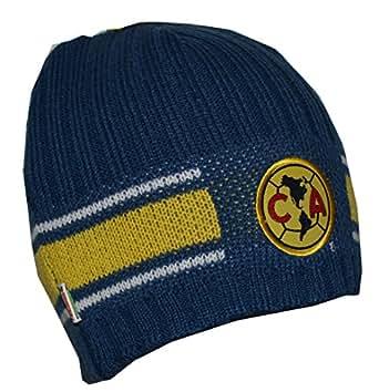 Club America Beanie Peruvian Skull Cap Hat FMF (Navy Yellow)