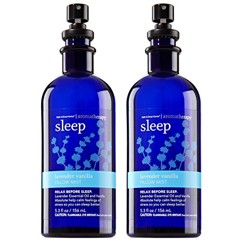 Bath & Body Works Aromatherapy Sleep Lavender Vanilla Pillow Mist, 5.3 Fl Oz, 2-Pack (Packaging May Vary) ()