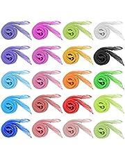 Dadabig 20 STKS Zijden Danssjaals Juggling Sjaals Vierkante Sjaals Multicolor Ritme Band Sjaals voor Kinderen Volwassenen, 20 kleuren, 60 x 60 cm