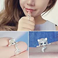Lovely_Adjustable_Animal_Cat_Open_Ring_Silver_Plated_Jewelry_Blue_Crystal_Eyes