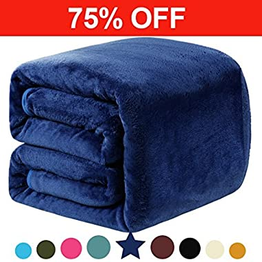 Fleece Queen Blanket 330 GSM Super Soft Warm Extra Silky Bed Blanket, Couch Blanket, Travelling and Camping Blanket (Royal Blue)