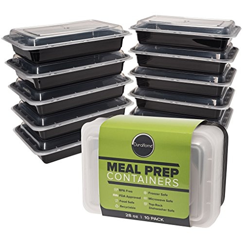 Rectangular Black Container (Meal Prep Containers with Lids, 10-Pack BPA Free Food Storage Container Microwaveable Dishwasher & Freezer Safe Black Plastic Bento Lunch Boxes, Reusable Portion Control - DuraHome (1 Compartment))