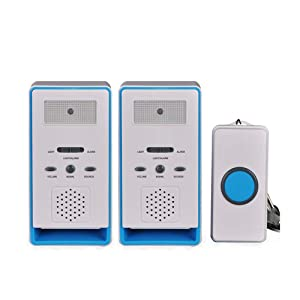 FUNRUI Patient Alert Alarm System Wireless Pager Alarm Home Safety Emergency Call Button Doorbell Elderly Monitor Caregiver Personal Pager for Elderly Kids Handicapped Pregnant Women, Blue, 2 in 1