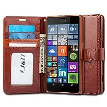 Lumia 950 XL Case, J&D [Wallet Stand] Microsoft Lumia 950 XL Case Heavy Duty Protective Shock Resistant Wallet Case for Lumia 950 XL (Lumia 950 XL, Brown)