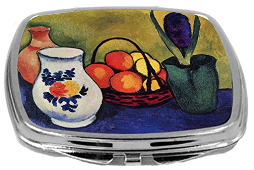 Rikki Knight Compact Mirror, August Macke Art White Jug with Flowers and Fruits, 3 (Jug Mirror)