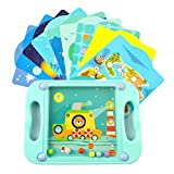 wellborn Ball Balance Puzzle Game Labyrinth Board Toys Maze Puzzle Ball Brain Teasers Toys for Kids with 10 Game Scenes Cards Mind Brain Toys for 3 Years and Up Toddlers Challenging-Blue