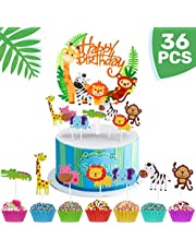 iZoeL 36pcs Jungle Safari Cake Cupcake Decoration, 1pcs Jungle Animals Happy Birthday Banner, 35 Animal Cupcake Toppers for Kid Birthday Party, Jungle Safari Theme Party