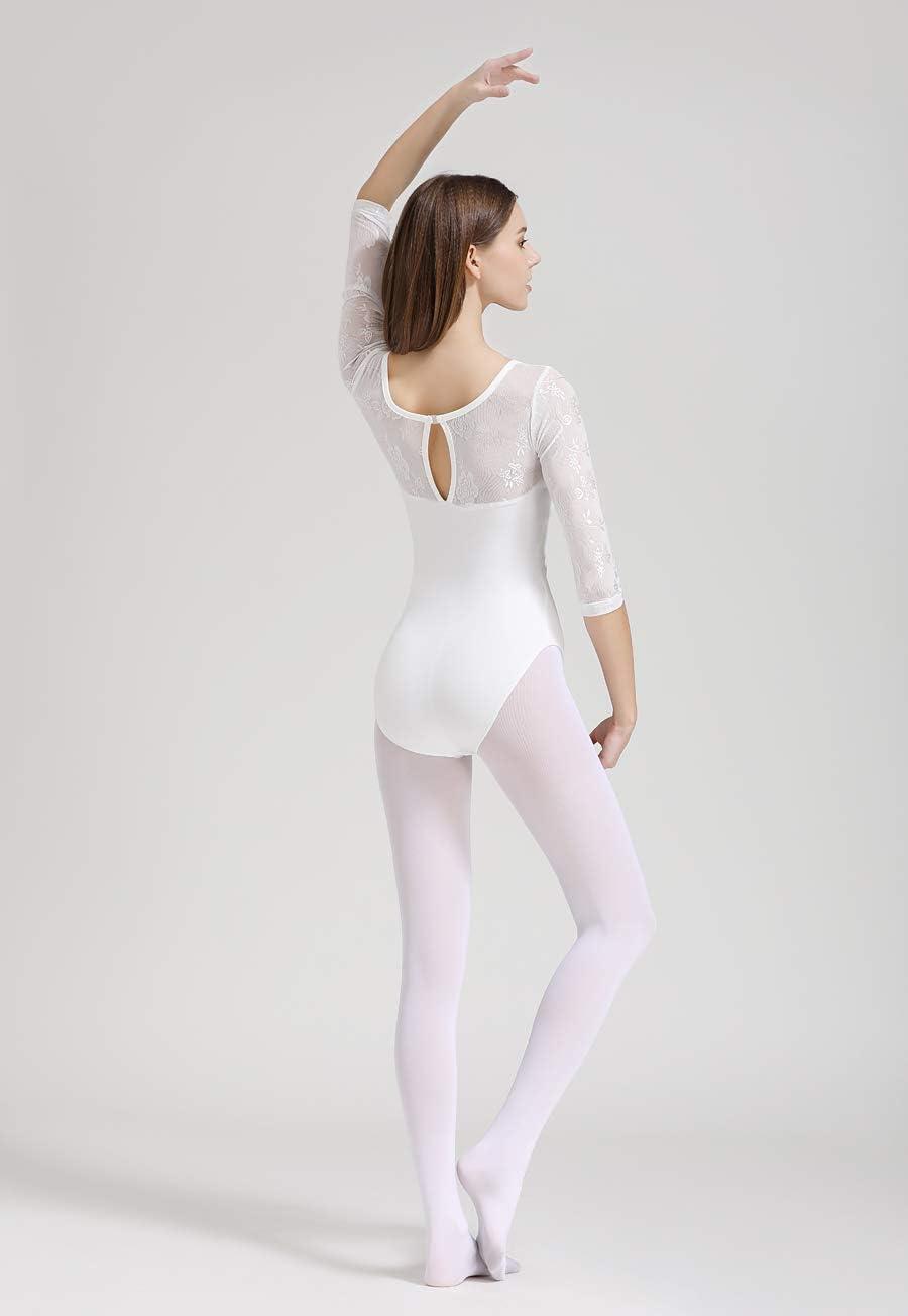 Limiles Adult Ballet 3//4 Sleeve Lace Back Leotard