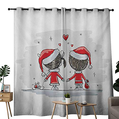 NUOMANAN Window Curtains Christmas,Soul Mates Love with Santa Costume Family Romance in Winter Night Picture Print,Red White,Tie Up Window Drapes Living Room -