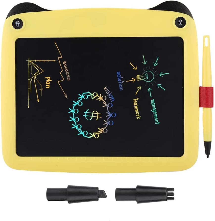 Zopsc Writing Tablet 9-inch Portable Smart LCD Colorful Writing Board Scratch-Resistant Multifunctional Electronic Notepad for Kids Adults Home Office Yellow