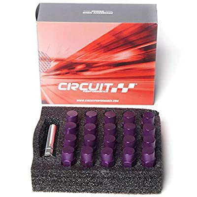 Circuit Performance Forged Steel Extended Hex Lug Nut for Aftermarket Wheels: 12x1.25 Purple - 20 Piece Set + Tool: Automotive