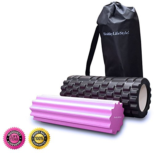HealthyLifeStyle 2 in 1 Deep Tissue Massage AccuPoint Roller with Carrying Case