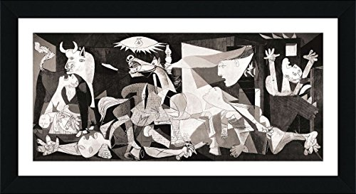 Pablo Picasso Abstract Art (Alonline Art - Guernica Pablo Picasso Black FRAMED POSTER (Print on 100% Cotton CANVAS on foam board) - READY TO HANG | 34