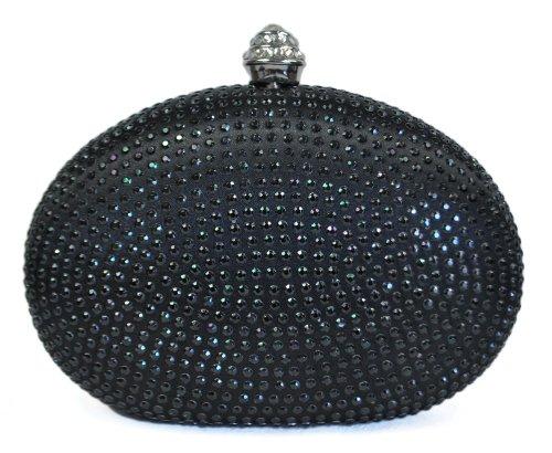 Chicastic Black Rhinestone Crystal Minaudiere Hard Mini Wedding Cocktail Evening Clutch Bag