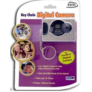 Silver Digital Camera on a Key Chain