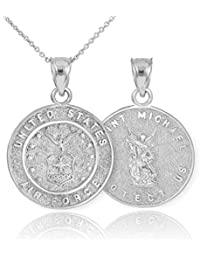 Fine Sterling Silver St Michael Medal Protection Charm US Air Force Reversible Pendant Necklace