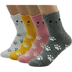JJMax Women's Sweet Animal Cotton Blend Socks Set One Size Fits All (Kitty Cat Tracks)