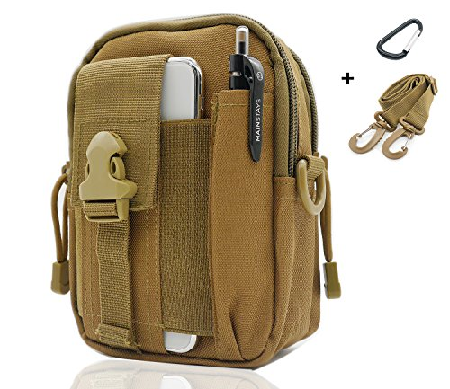 SEVENPICKS Tactical Waist Pack Multi Purpose Bag EDC Pouch Utility Upgraded Version with Strap Camping Hiking Pouch Nylon Cell Phone Bag(Khaki)