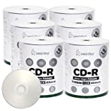 Smart Buy CD-R 600 Pack 700mb 52x Printable Silver Inkjet Blank Recordable Discs, 600 Disc, 600pk