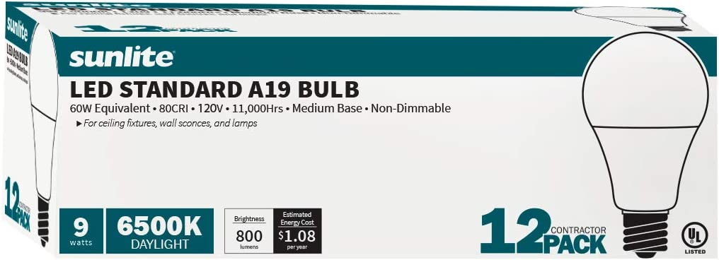 24 Pack 50K-Super White Sunlite 41097-SU LED A19 Household Light Bulbs 9 Medium 800 Lumen E26 60 Watt Equivalent Base