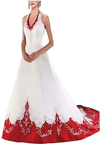 Amazon Com Chady White And Red Wedding Dress For Bride 2019 Halter Neck Embroidery A Line Floor Length Bridal Gown Clothing