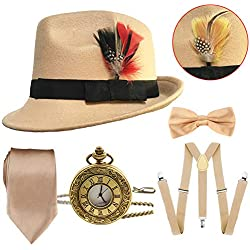 1920s Mens Gatsby Costume Accessories,Manhattan Fedora Hat w/Feather,Vintage Pocket Watch,Suspenders,Pre Tied Bow Tie,Tie (OneSize, Champagne)