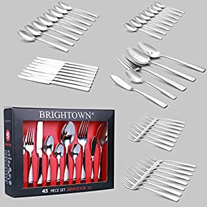 45-Pieces Flatware Set, Stainless Steel Tableware Silverware-Service for 8